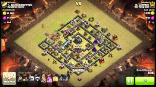 Clash of Clans 3 star attack Stoned GoHo square base Max TH9 4 quakes