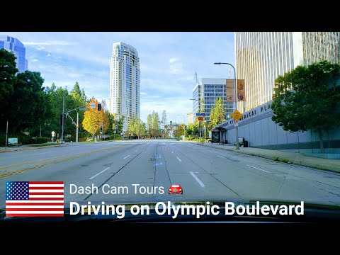 Driving On Olympic Boulevard,  Los Angeles,  California,  USA ||  Dash Cam Tours 🚘