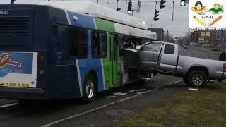 Pickup Truck Accident with the bus in Syracuse, New York