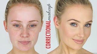 CORRECTIONAL MAKEUP! Redness, Large Pores, Small Eyes, Dark Circles etc | Lauren Curtis