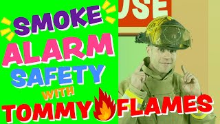 Fire Safety For Kids   Smoke Alarm Safety with Tommy Flames   Toddler Firefighter Videos