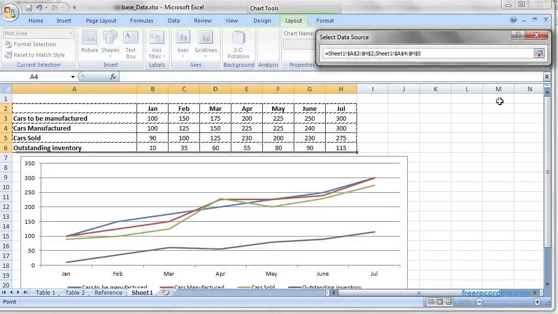How to create line graph in Microsoft Excel - YouTube