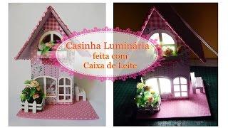 Casinha Luminária feita com caixa de Leite – by Débora de Souza
