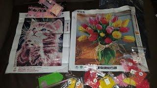Алмазная вышивка Милый Котенок и Тюльпаны в вазе. 5D мозаика из Китая с сайта Aliexpress