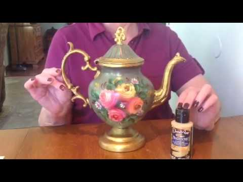 DIY - Decorate Old Silver Teapots with Gold Acrylic Paint