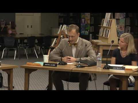South Burlington School Board Meeting: September 7, 2016