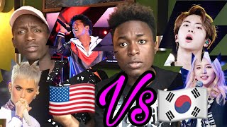 kpop vs pop 2017 bts bruno mars katy perry kard reaction