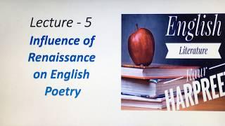 Renaissance influence on English Literature/ Elizabethan poet/Thomas Wyatt