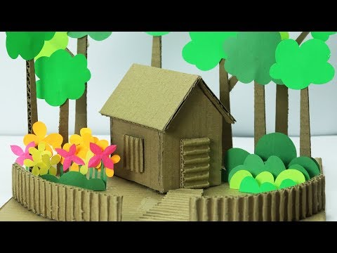Cardboard House making with Paper trees and paper flower- Easy craft