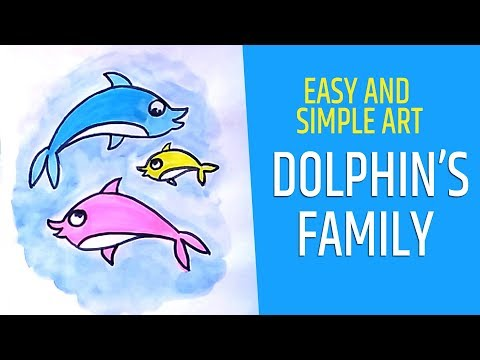Download How To Draw Dolphin Fish Family For Kids Simple Drawing For