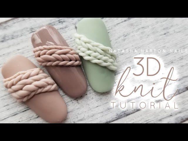 3D Knitted Nail Tutorial • Natasha Harton Nails • Christmas 2019