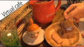 ASMR Cafe【3D sound】 一人称視点ver.【ムーミン ビスケットブラウニー】注:咀嚼音