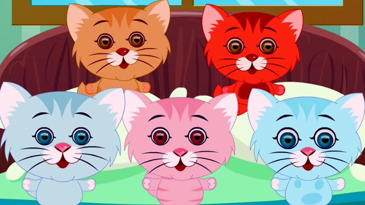 Five Little Kittens Three Little Kittens Nursery Rhymes Kids Songs Kittens Song Youtube