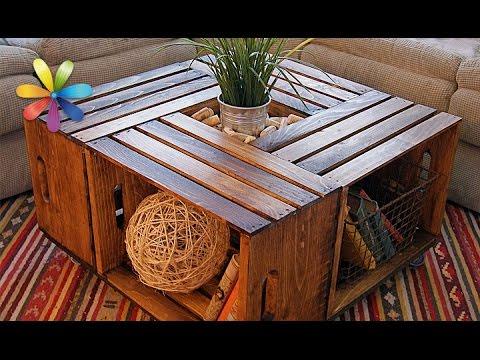 Cмотреть видео Дизайнерский стол из деревянных ящиков  Все буде добре. Выпуск 875 от 07.09.16