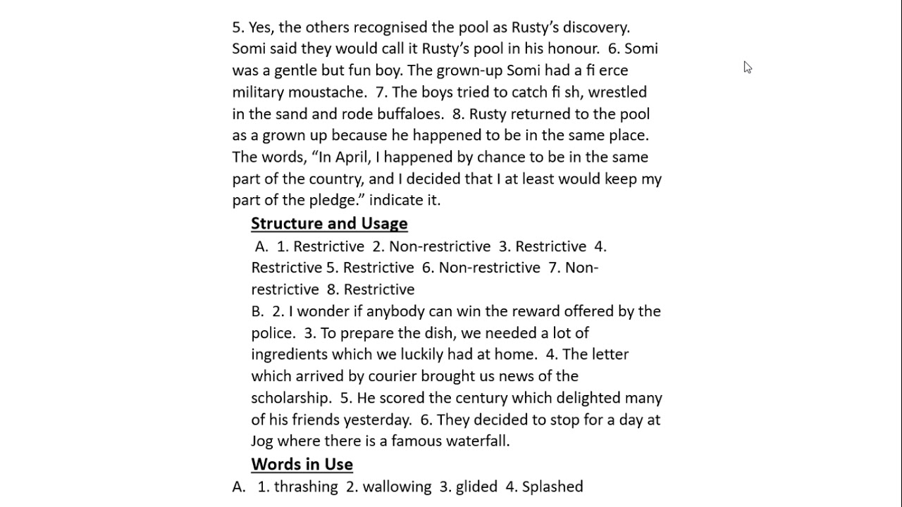 """Answer Key GUL MOHAR READER 7 Lesson 5 """"The Meeting Pool ..."""