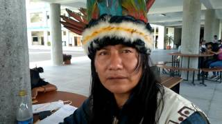 Sapara indigenous leader signing the Nature Nations Declaration of Independence