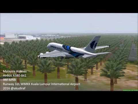FSX Malaysia Airlines Airbus A380 9M-MNB Landing 32L WMKK KLIA