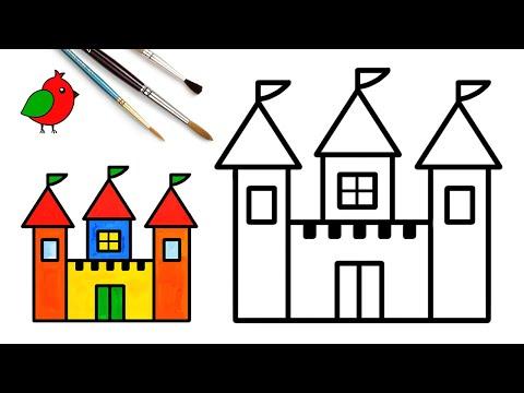 Замок – рисуем рисунок для детей L Как нарисовать просто L Уроки рисования L Раскраски малышам