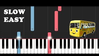 Wheels on the Bus - Cocomelon Nursery Rhymes & Kids Songs (SLOW EASY PIANO TUTORIAL)