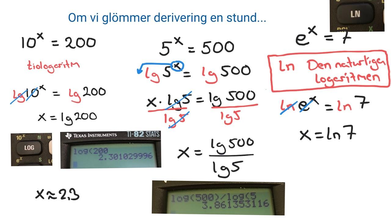 Matematik 3: Talet e. Den naturliga logaritmen, ln, samt derivering av exponentialfunktioner