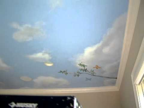 Sky ceiling mural youtube for Cloud mural ceiling