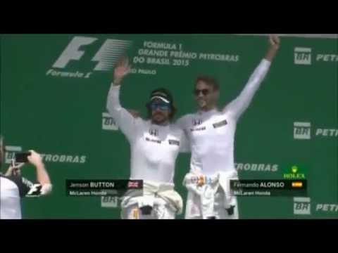 F1 2015 Brazil GP Jenson Button and Fernando Alonso on the Podium