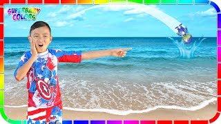 I lost Robo Ryan in the Ocean!!! Ryan's World Toys #4 🌊🏊🏄
