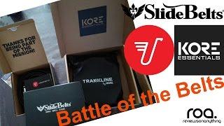 Ratchet Belt Comparison: Kore Trakline belt vs Mission belt vs Slidebelts