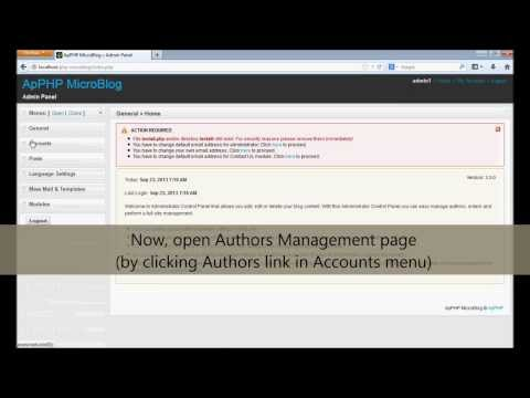 ApPHP MicroBlog - Creating authors accounts