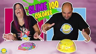 Making Clear Slime  with 100 Bags Colors Haciendo Slime transparente con 100 Bolsas de Colores
