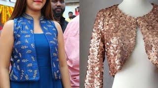beautiful short shrug design ideas for kurta/short Jacket design ideas/new embroidered shrugs ideas