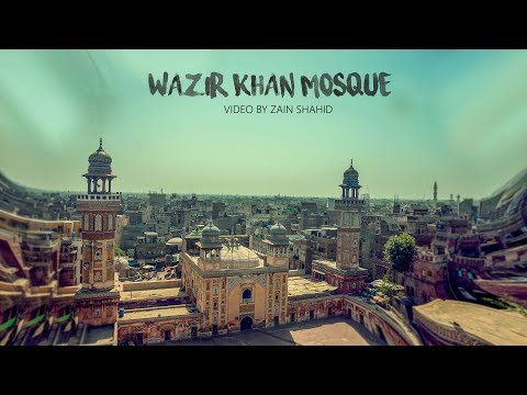Walled city and wazir Khan mosque cinematic video.