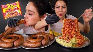 super long sausage & new spicy fire cold noodles 먹방 mukbang 튀김쫄면 통편육 big bites