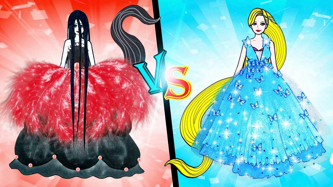 Paper Dolls Dress Up ~ Costumes Hot vs Cold Rapunzel And Sadako Dresses Quiet Book ~ Dolls Beauty