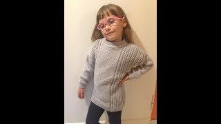 пуловер на девочку 5-6 лет  часть  2 вяжем рукава и сшиваем детали