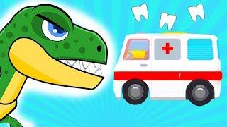 Мультики про Машинки - Динозавр лечит зубы - Мультик Для Детей 2019