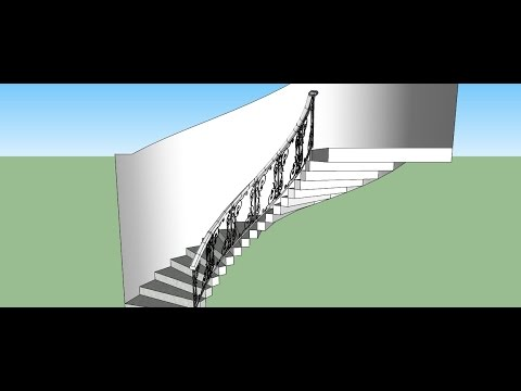 Sketchup Making Of ; Curved Railing For Stairs - YouTube