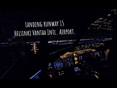 Night landing runway 15 Helsinki Vantaa International Airport (HEL EFHK).