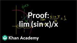 Proof: lim (sin x)/x | Limits | Differential Calculus | Khan Academy
