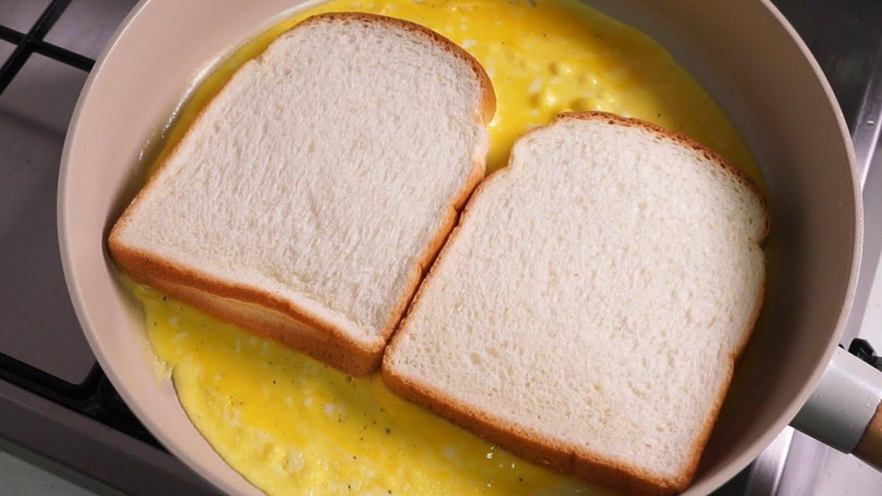[ENG/초간단요리] 5분이면 완성! 원팬 토스트 만들기 One-Pan Egg Toast