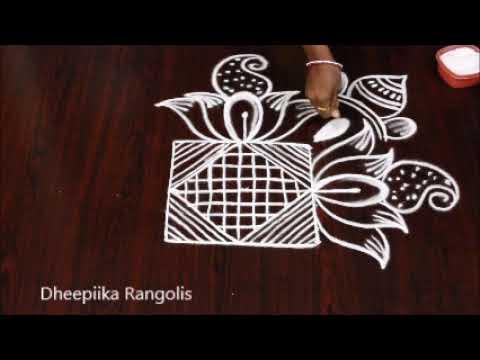 New year special big freehand rangoli design 2019 * sankranthi