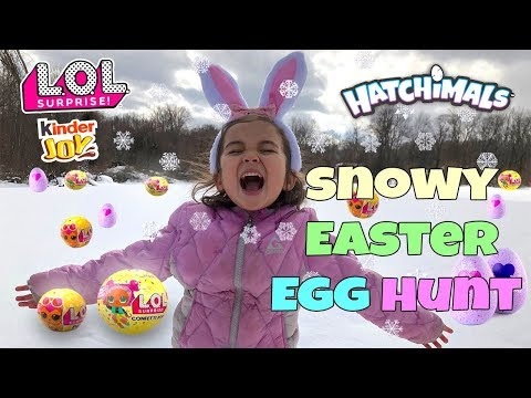 GIANT EASTER EGG HUNT 2018 in snow! | LOL Confetti Pops + Pets, Hatchimals, Kinder Joy Eggs