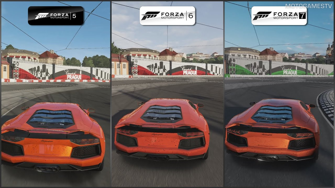 Forza 5 Vs Forza 6 Vs Forza 7 Lamborghini Aventador At Prague Youtube