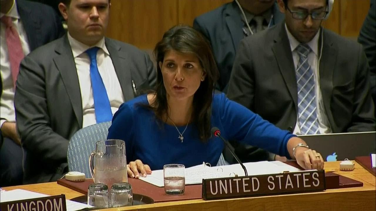 U.S. Ambassador to the United Nations Nikki Haley speaks at the United Nations.