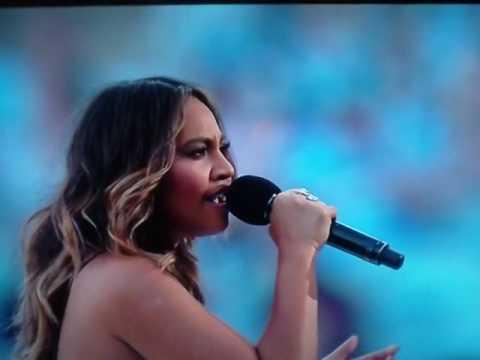 Jessica Mauboy sings at 2016 NRL GRAND FINAL