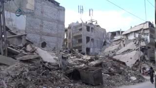 وكالة قاسيون  الدمار الهائل الذي خلفه القصف على مدينة زملكا بريف دمشق 6-12-2015