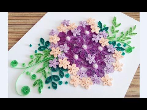 Paper Quilling Flower Card For beginner Learning Video 13 // Paper Flower Card