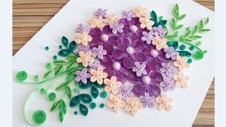 Paper Quilling Flower Card For beginner Learning Video 13 // Paper Flower Card