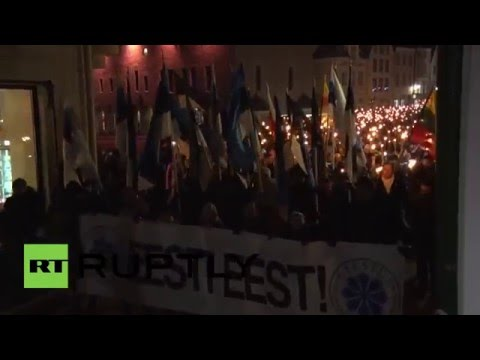Estonia: 'Soldiers of Odin' hold torch-lit march in Tallinn
