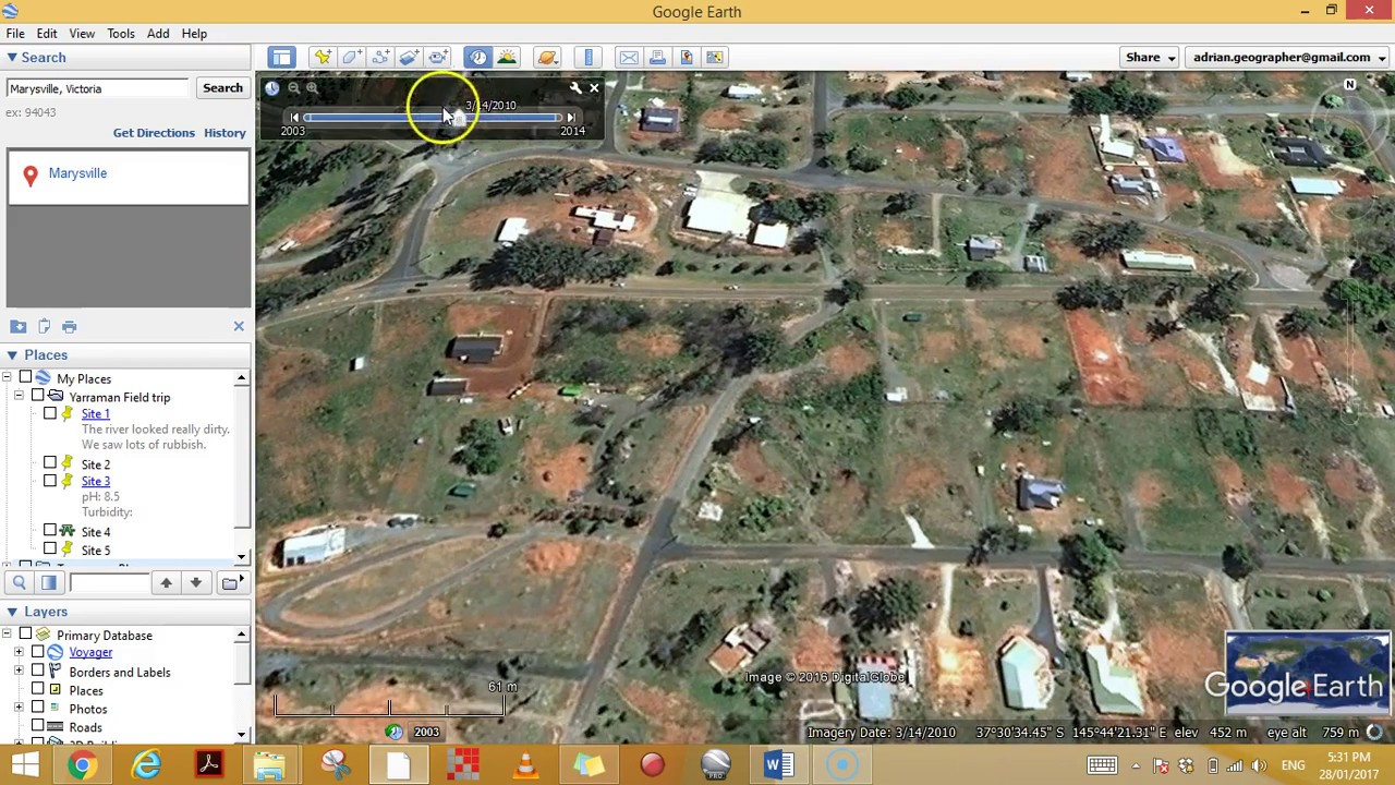 Historical Imagery in Google Earth